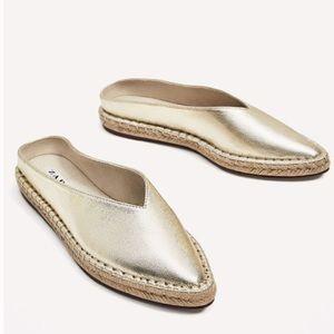 Zara Gold Mules/Slides